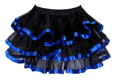Scalloped Tutu Black with Blue Trim