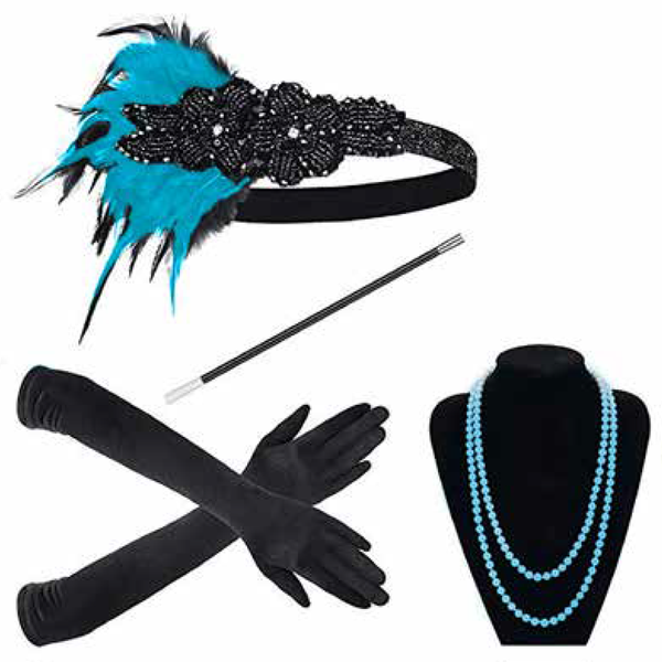 Blue 1920s Gatsby Flapper Set