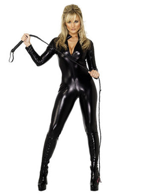 Black Wet Look Catsuit
