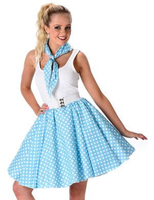 Pastel Blue 1950's Polka Dot Skirt and Necktie