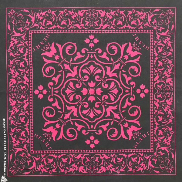 Black with Pink Print Bandana