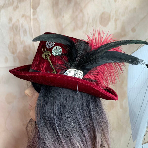 Red Velvet Steampunk Top Hat