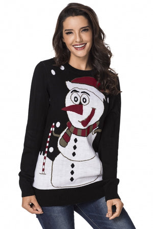 Black Snowman Knitted Christmas Jumper