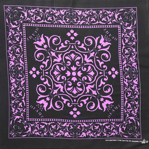 Black with Lavender Print Bandana