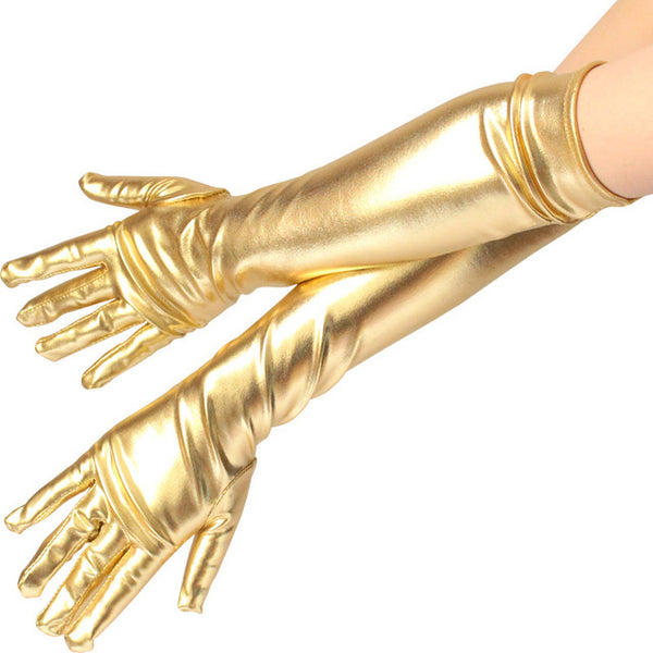 45cm Gold Metallic Gloves