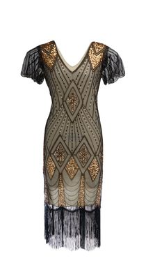 Black, Cream and Gold Gatsby Dress with flutter sleeve