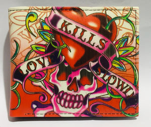 Wallet Love Kills Slowly Skull Red