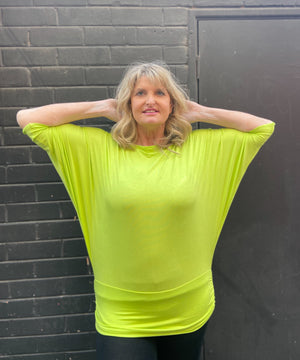 80's Lime Green Batwing Top