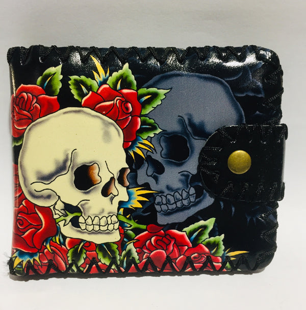Wallet Skull And Roses With Stitching