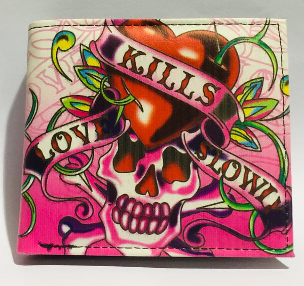 Wallet Love Kills Slowly Skull Pink