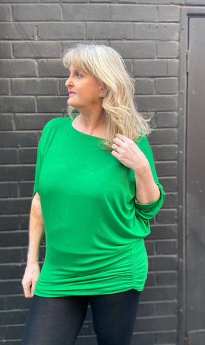 80's Green Batwing Top