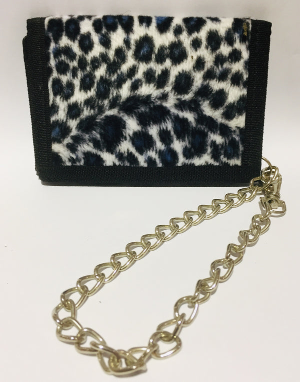 White Fur Leopard Wallet