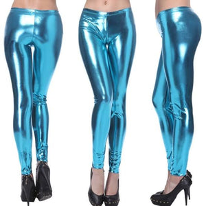 Aqua Blue Metallic Leggings