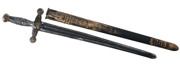 Medieval knight sword with sheath