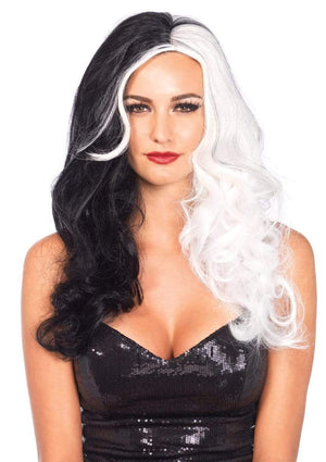 "25"" Two Tone Black and White wig"