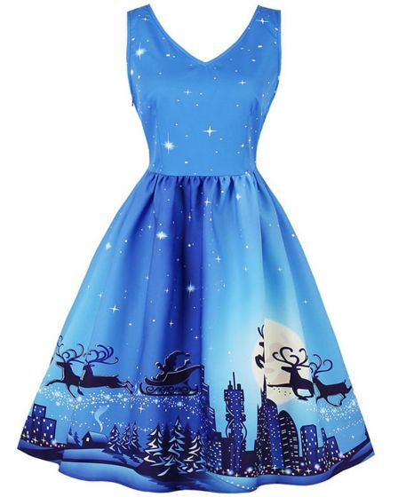Blue Snow Scene Christmas Print Dress