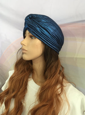 Metallic Turban Blue