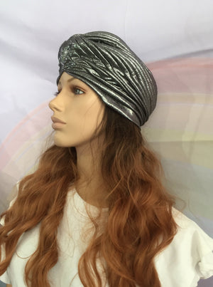 Metallic Turban Grey