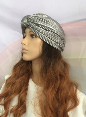Metallic Turban Silver