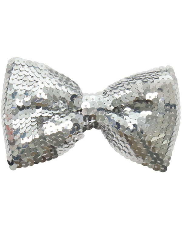 Deluxe Silver Sequined Bow Tie