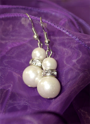 Pearl & Diamante Costume Earrings