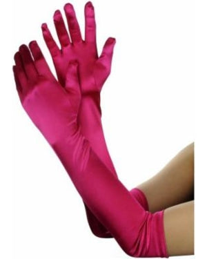 45cm Hot Pink Satin Gloves