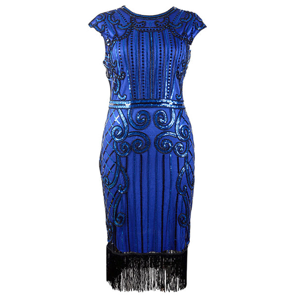 Royal Blue Beaded Gatsby Dress
