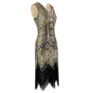 Black and Gold Sequined Gatsby Dress