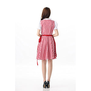 Long Red Checked Oktoberfest Dirndl