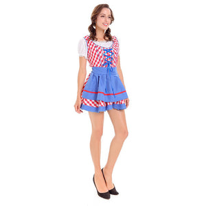 Red and Blue Checked Oktoberfest Dirndl