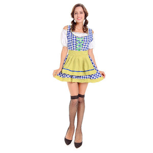 Blue and Yellow Checked Oktoberfest Dirndl