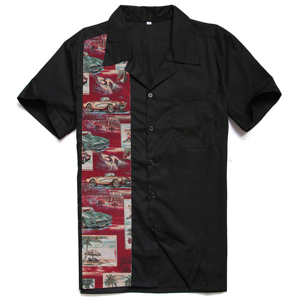 Men's Vintage Car Bowling Style Shirt