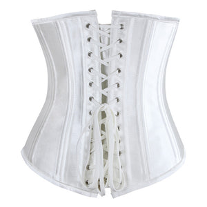 Steel Boned Off White Satin Underbust Corset