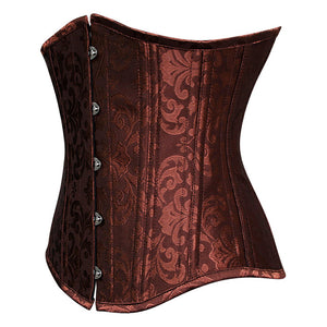 Brown Jaquard Under Bust Corset