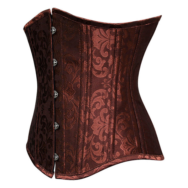 Steel Boned Brown Jacquard Underbust