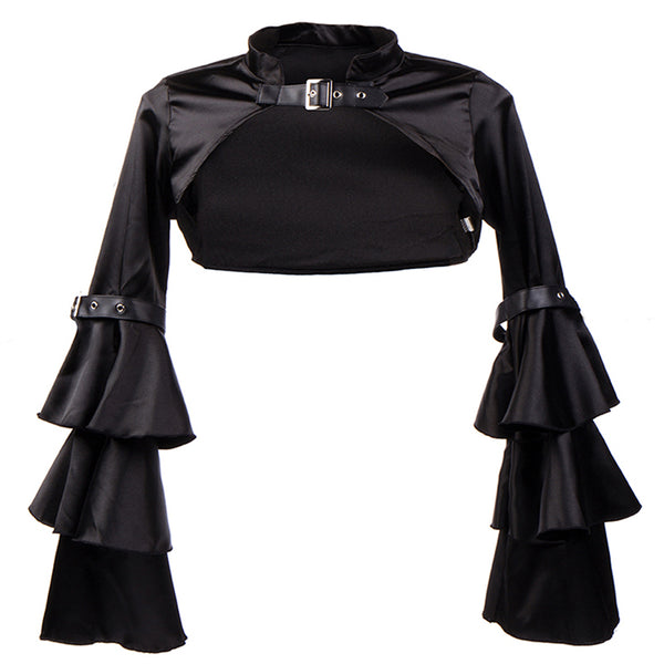 Cropped Black Satin Steampunk Shrug