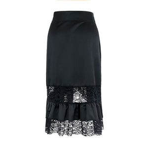 Black Steampunk Lace Patchwork Skirt