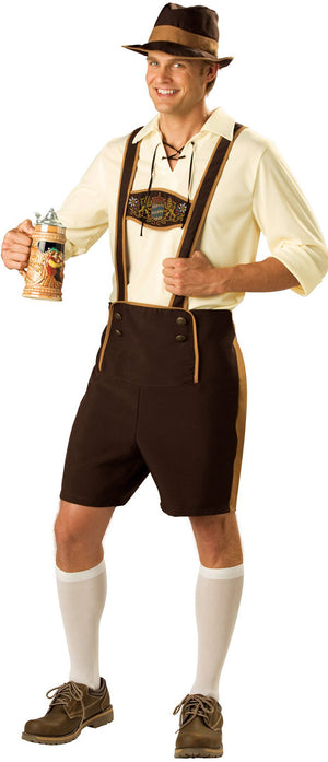 Men's Brown Lederhosen Oktoberfest Costume - PLUS SIZE