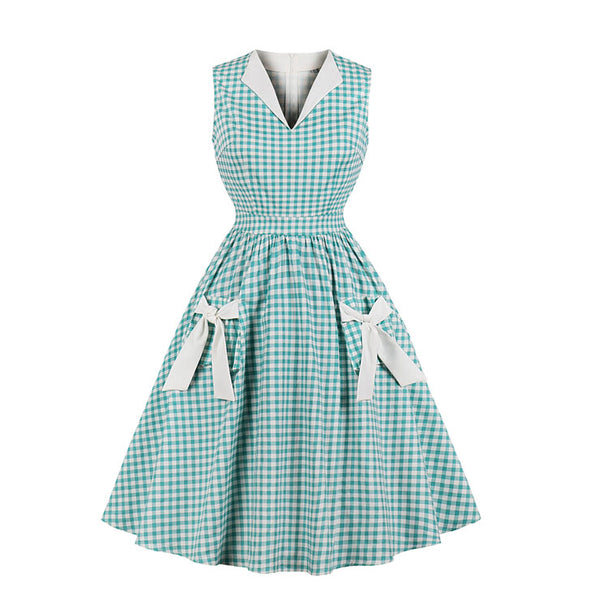Retro Mint Green Checked Dress