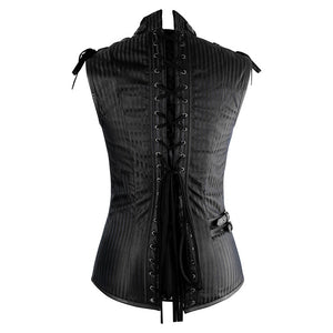 Men's Black Overchest Steampunk Vest