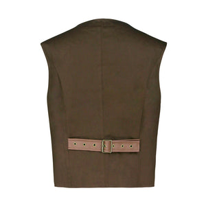 Men's brown steampunk vest waistcoat with brass fasteners