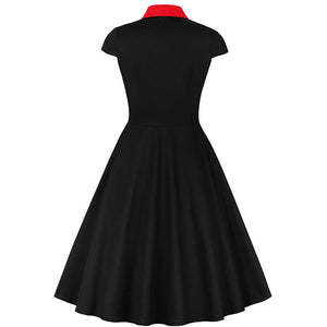50's Styled Black and Red Swing Dress