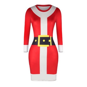 Printed Santa Bodycon Dress