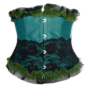 Turqouise and Black Lace Underbust