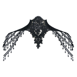 Gothic Beaded Lace Shoulder Choker