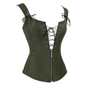 Olive Strappy Corset With Zip