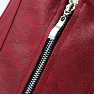 Burgundy Strappy Corset With Zip