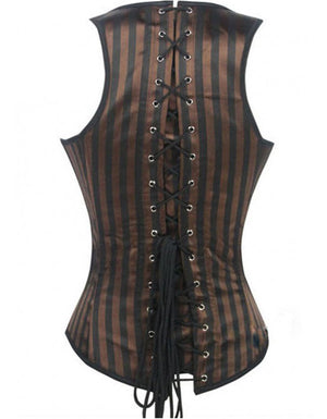 Brown and Black Striped Corset Underbust Vest