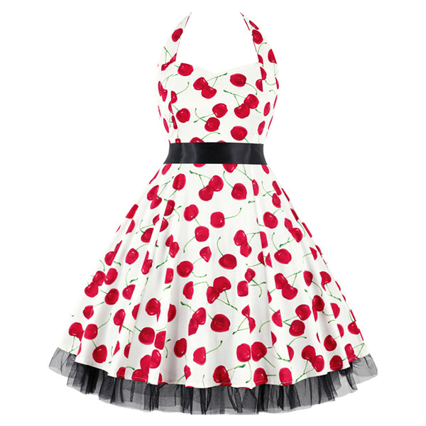 White Halterneck Cherry 50's Dress