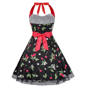 Black Halterneck Cherry 50's Dress